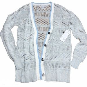 Design History Snap Buttons Crochet Cardigan S